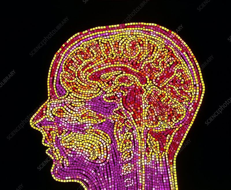 Abstract mosaic MRI scan of the human brain