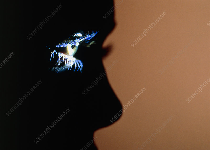 Silhouette profile of face with spotlit eye