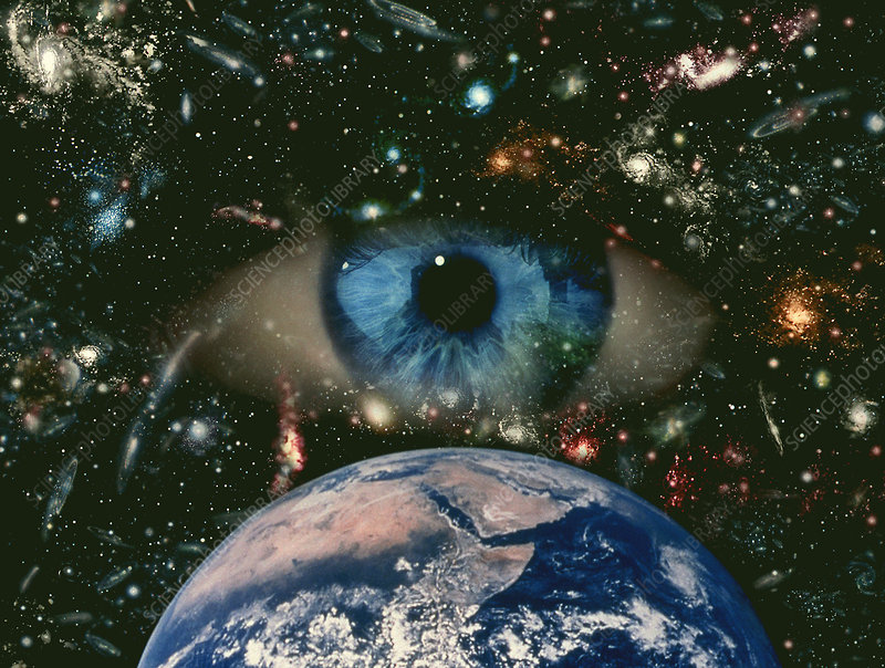 Computer graphic of an eye on starfield with Earth