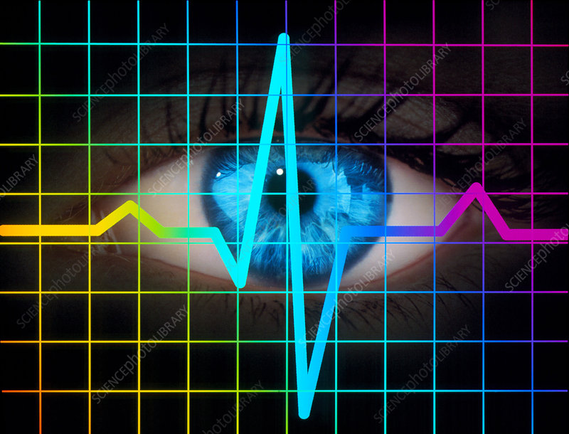 Computer artwork of heartbeat ECG and human eye