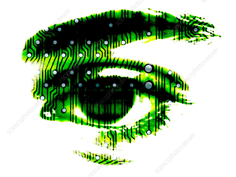 Computer art of eye with circuit board components