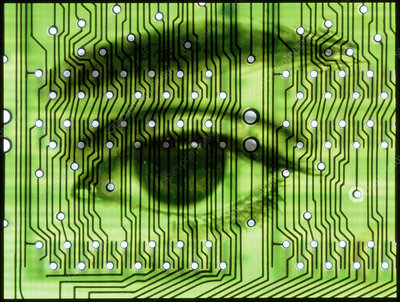 Computer artwork of human eye on a circuit board