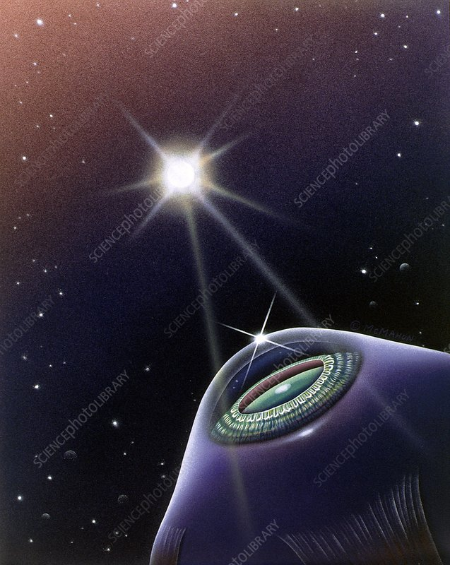 Abstract artwork of the eye looking at a star