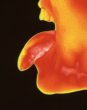 Thermogram of a woman sticking her tongue out