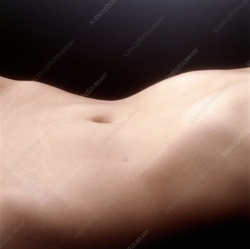 Side view of the abdomen of a woman lying down