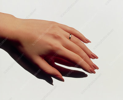 Woman's manicured hand with polished fingernails