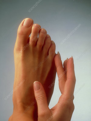 Woman's manicured hand and pedicured foot