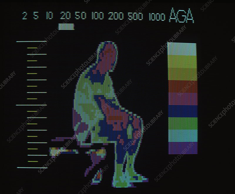 Thermogram of man before playing squash