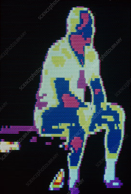 Thermogram of man at rest