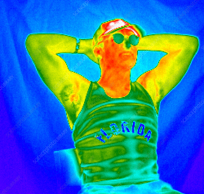 Thermogram of a man sunbathing
