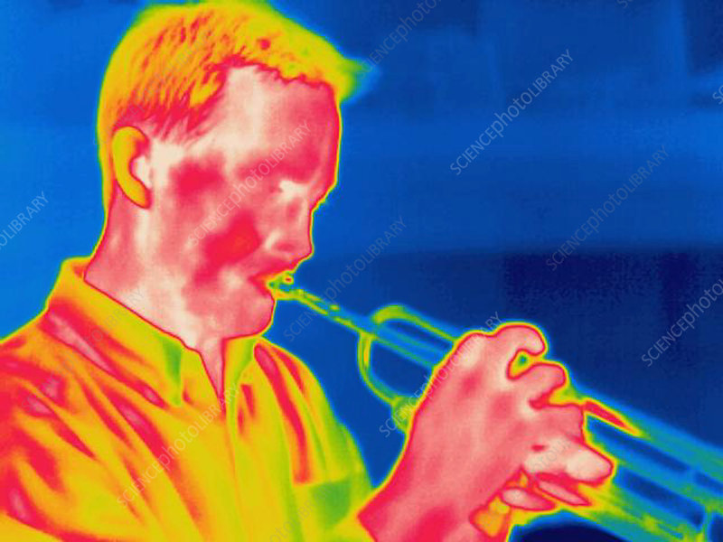 A thermogram of a musician playing trumpet
