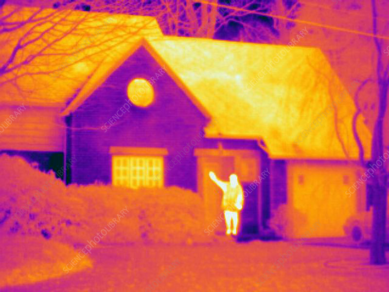 A thermogram of a man waving outside