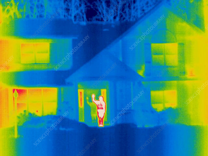 A thermogram of a person waving in house