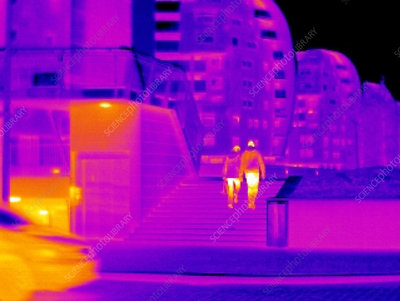 Couple walking, thermogram
