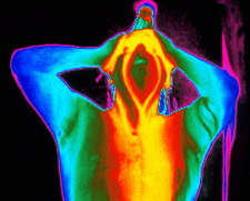 Thermogram of a man taking a shower