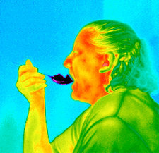 Thermogram of a woman eating ice cream
