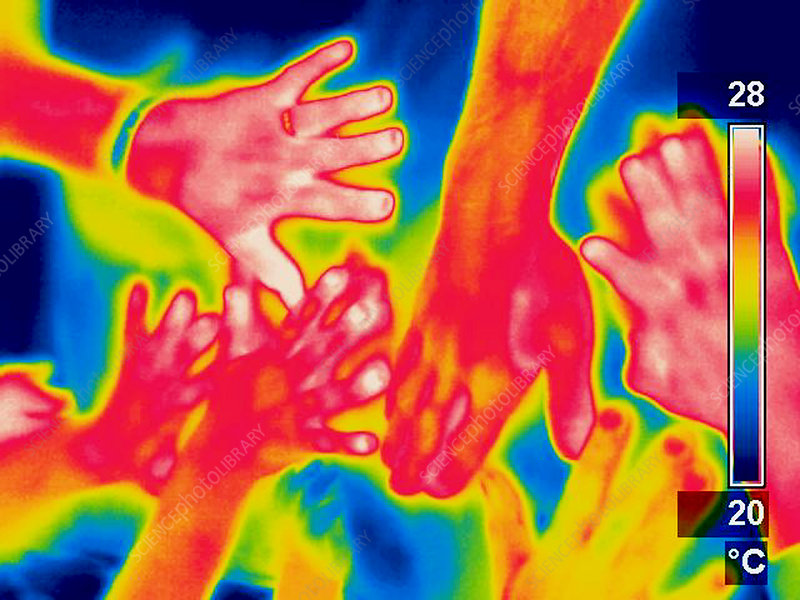 A thermogram of a pile of human hands