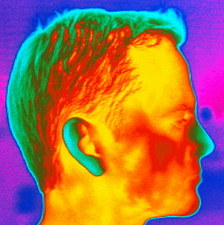 Thermogram of a man's head in profile