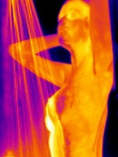 Woman showering, thermogram