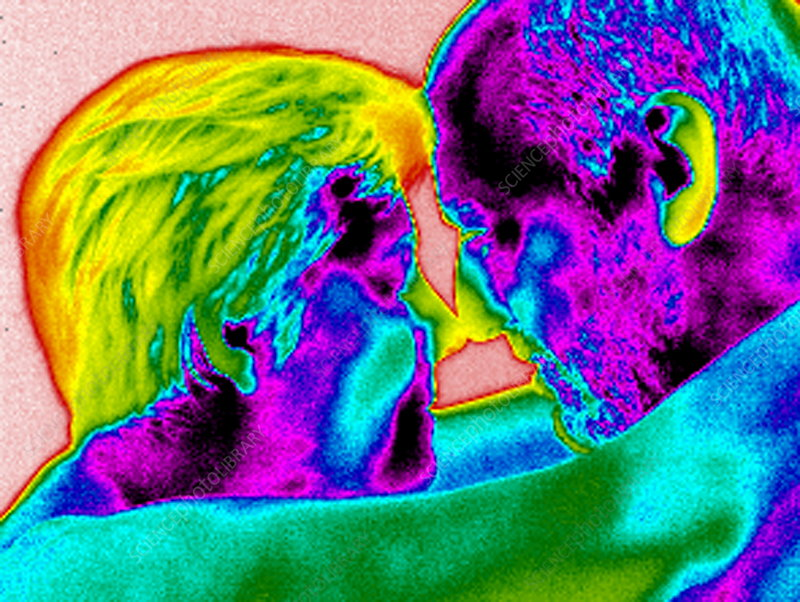 Couple cuddling, thermogram