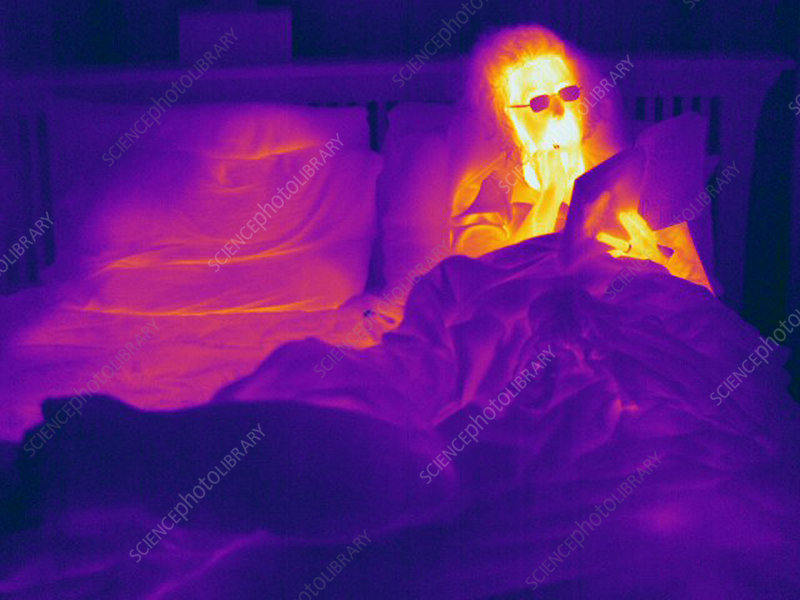 Thermogram of a Woman in Bed