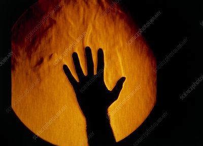 Schlieren image: heat rising from a hand