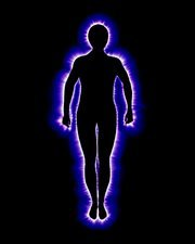 Kirlian photograph depicting a human aura