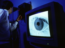 BT Laboratory researcher has his eye iris scanned