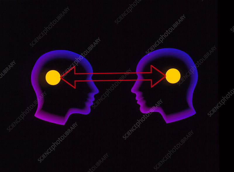 Abstract artwork of communication between 2 people