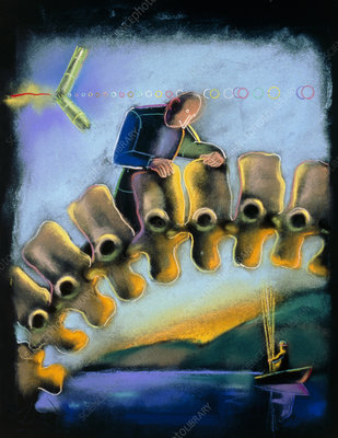 Abstract artwork of a physician examining a spine