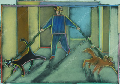 Abstract artwork of a man walking his pets