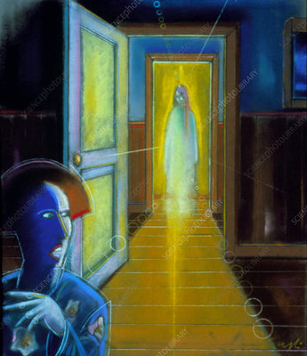 Artwork of a ghost appearing behind a person