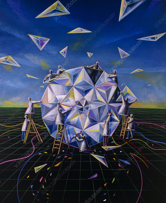 Abstract artwork of teamwork in making a crystal