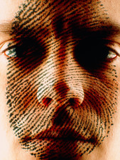 Fingerprint overlaid on a man's face