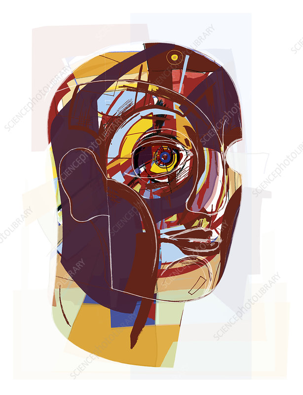 Abstract artwork of a person's face