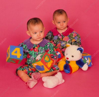 Infant identical twin girls (1 year old) with toys