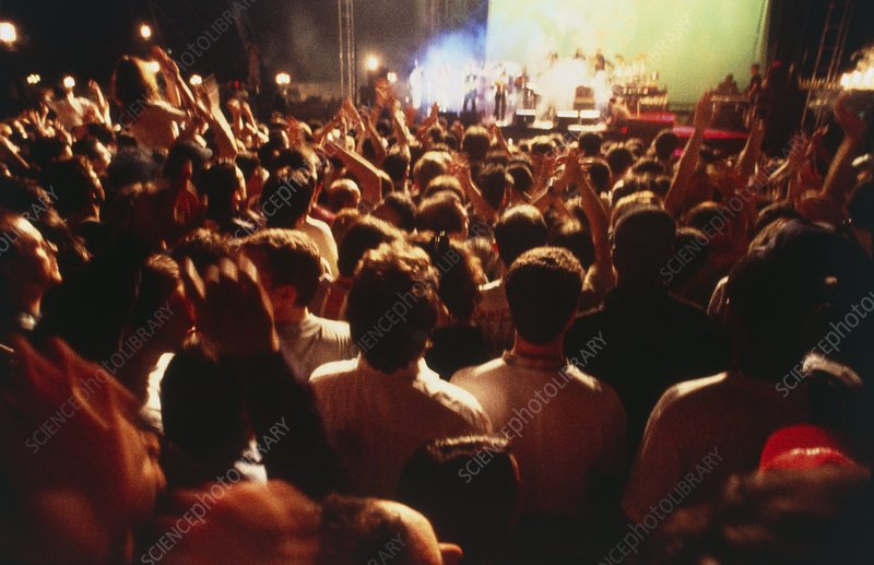 Night-time view of a crowd at a musical concert