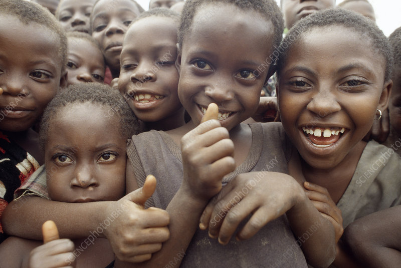 Crowd of African children