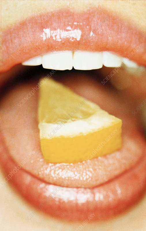 Slice of lemon on tongue