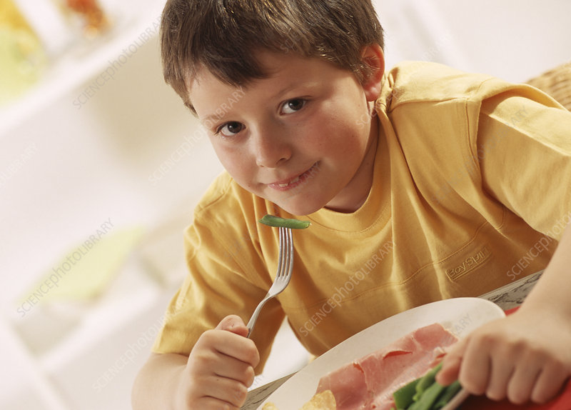 Boy eating healthy meal