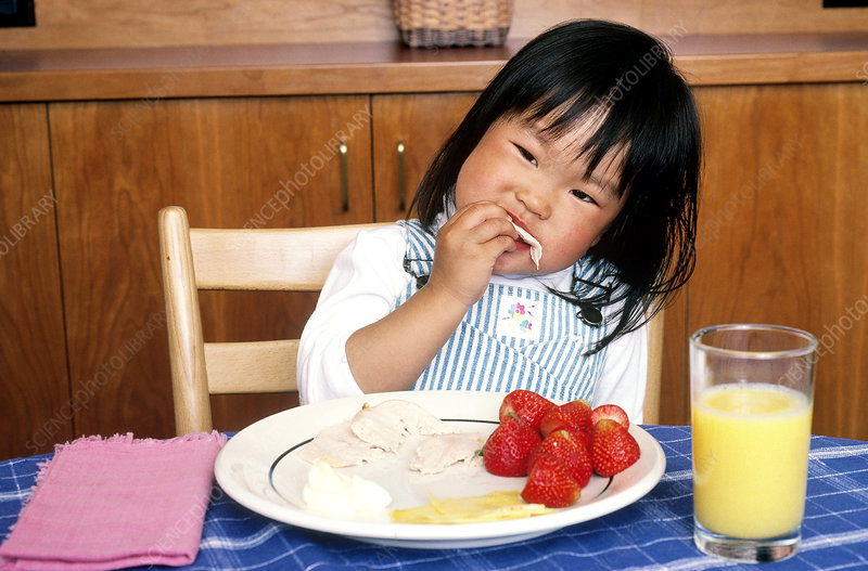 Korean Child Eating Lunch