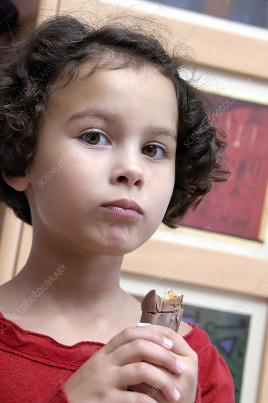 Girl eating a chocolate bar