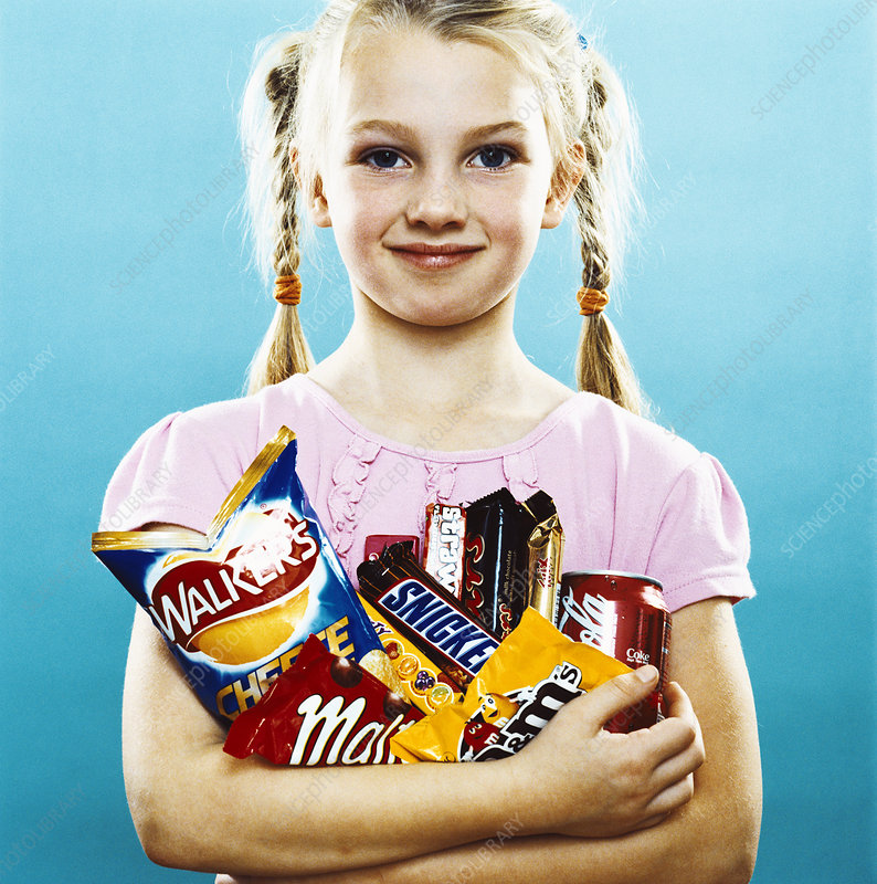 Girl holding crisps and chocolate