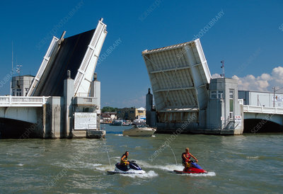 Drawbridge and jet skis