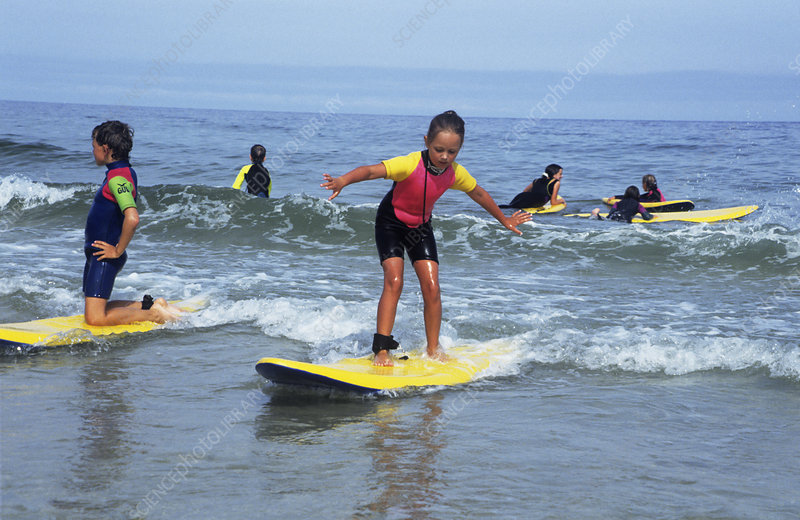 Children playing on surfboards