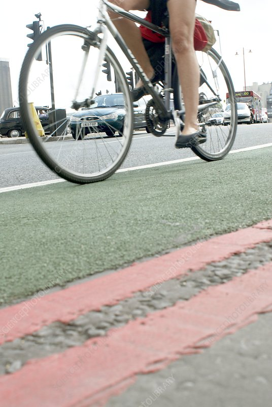 Cyclist in a cycle lane