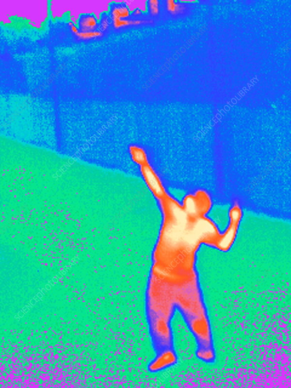Playing tennis, thermogram