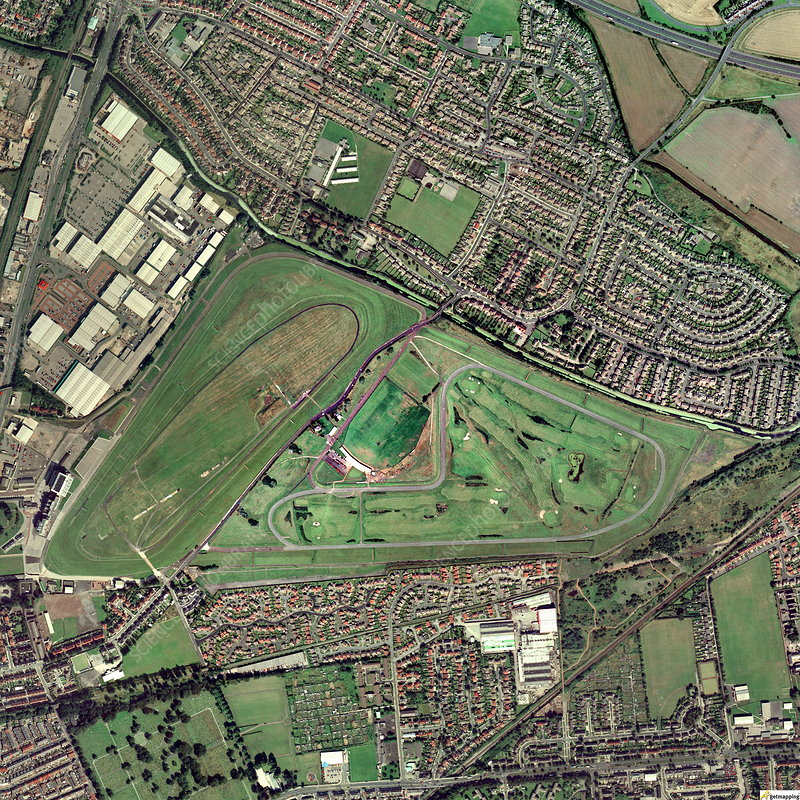 Aintree horse racing track, aerial image