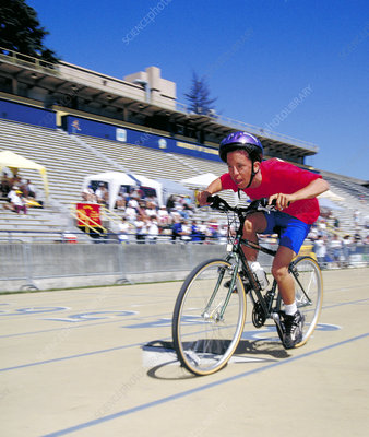 Special Olympics bicycle race competitor
