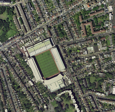 Arsenal's Highbury stadium, aerial view